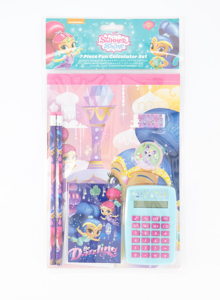 Shimmer & Shine 7pc Fun Calculator School Supply Set, Blue/Aqua/Pink
