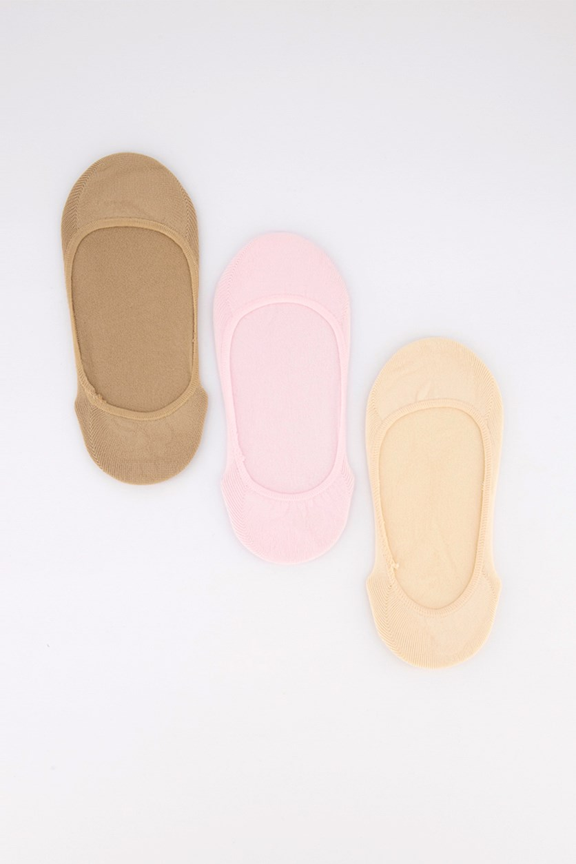 Women's 3 Pack No Show Liners,Tan/Pink/Cream