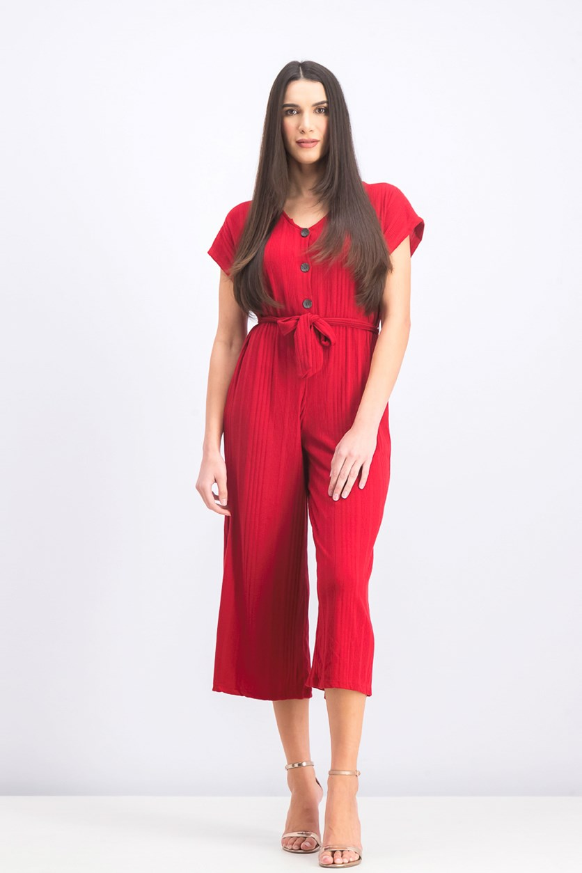Women's Long Jumpsuit With Belt, Red