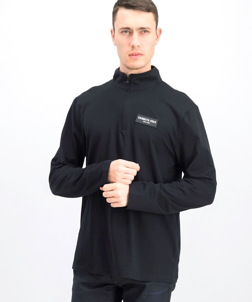 Men's Half-Zip Mock With Logo Sweater, Black