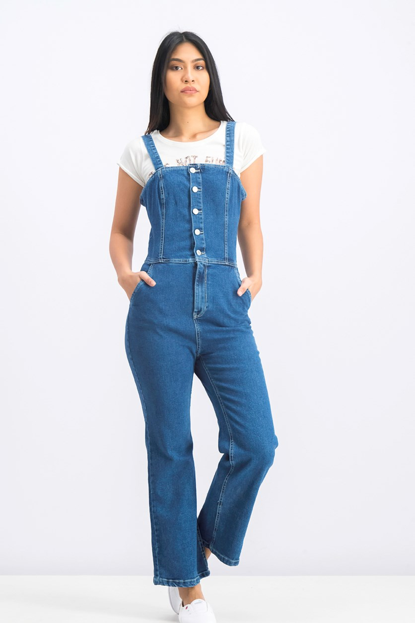 Women's Long Denim dungarees W/ Buttons Jumpsuit, Blue