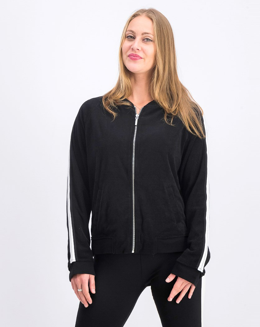 Women's Stripe-Trimmed Terry Bomber Jacket, Black