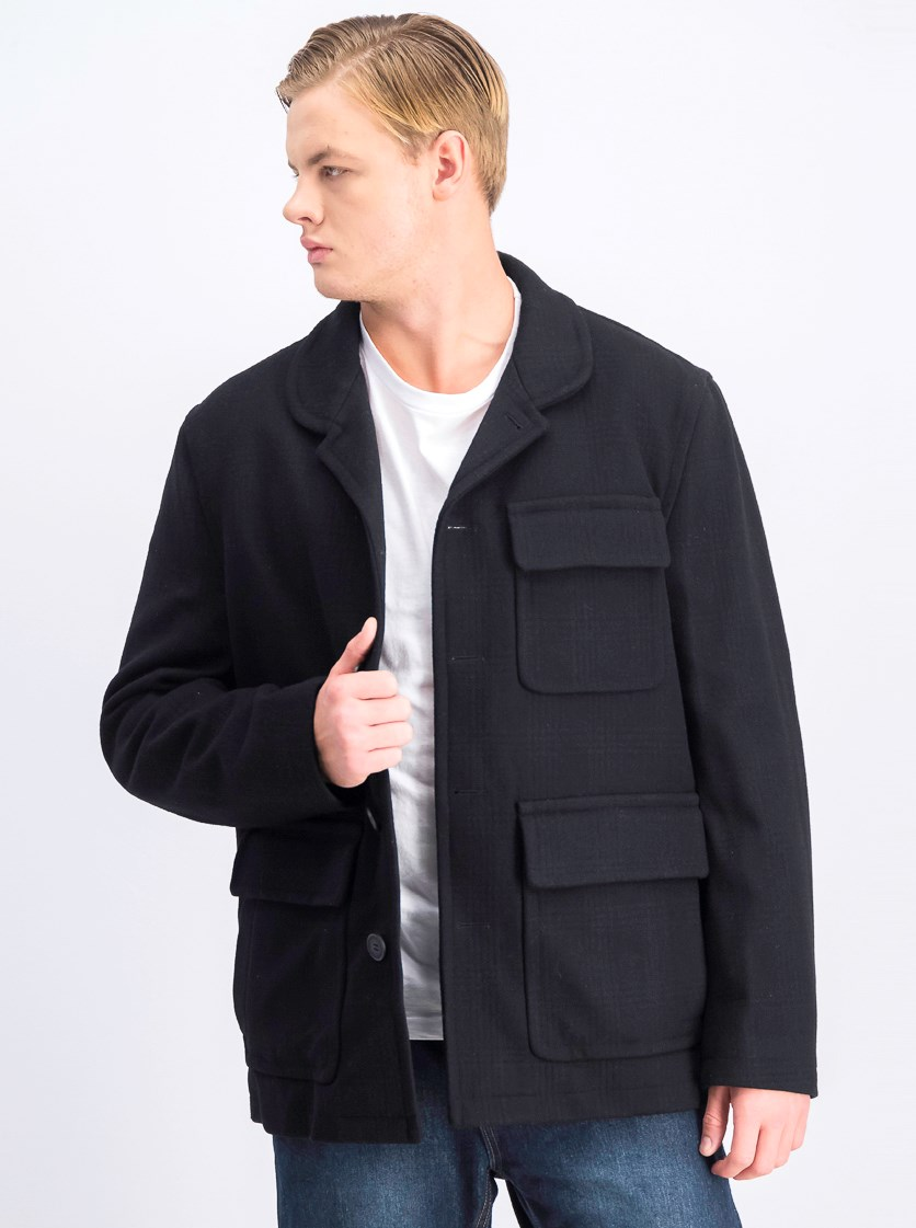 Men's Lyons Winter Wool Blend Car Coat, Black