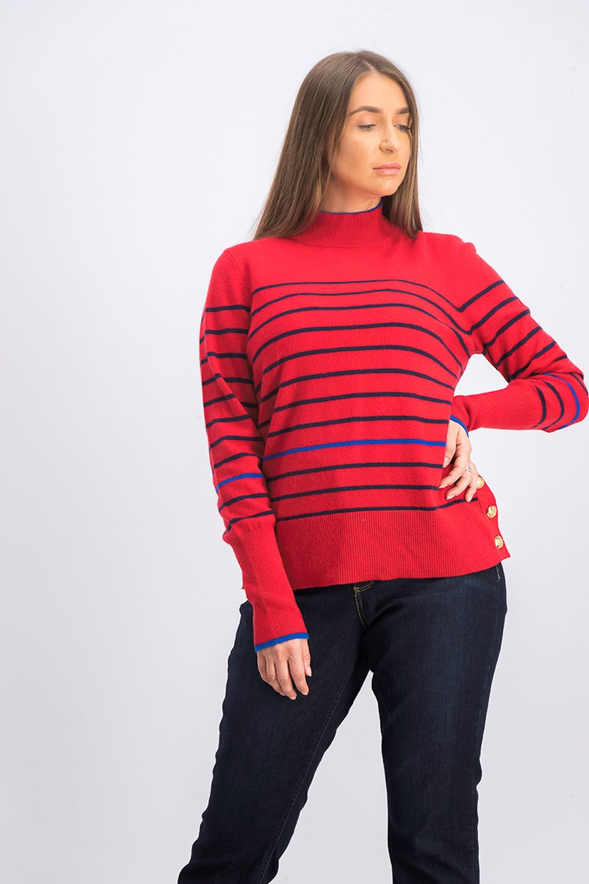 Women's Striped Cashmere Mock Neck Sweater, Red