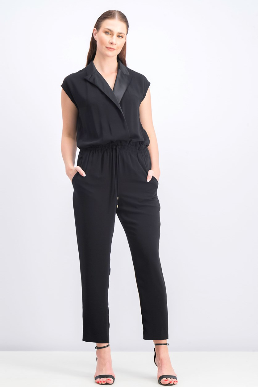 Womens Alack Crepe Faux Leather Trim Jumpsuit, Black