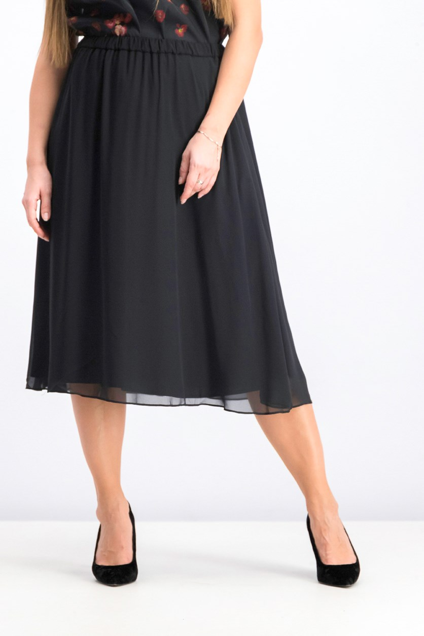 Women's Chiffon Midi Skirt, Black