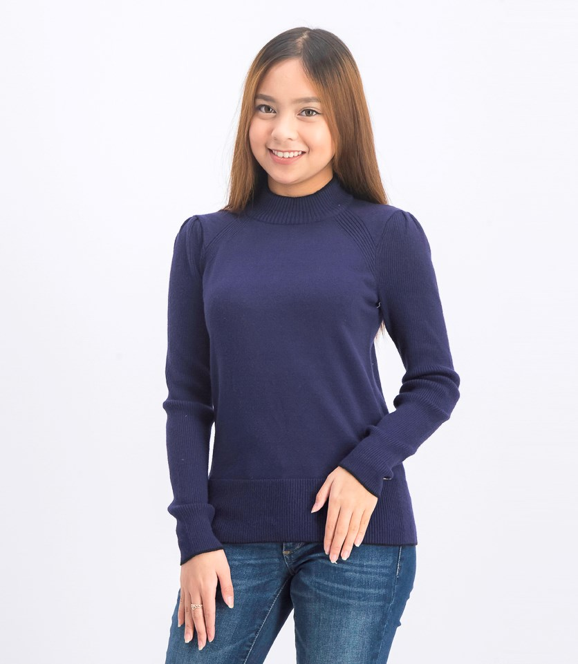 Women's Contrast Tip Trim Sweater, Navy