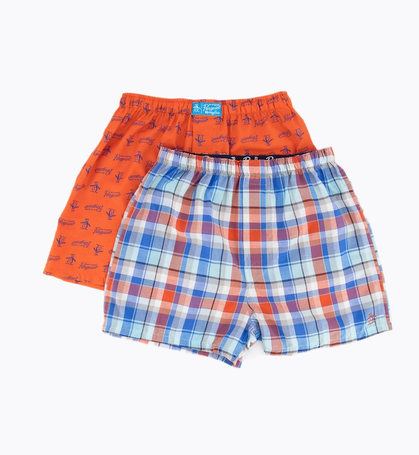 Boy's 2 Pack Printed Woven Boxer, Red/Blue Combo