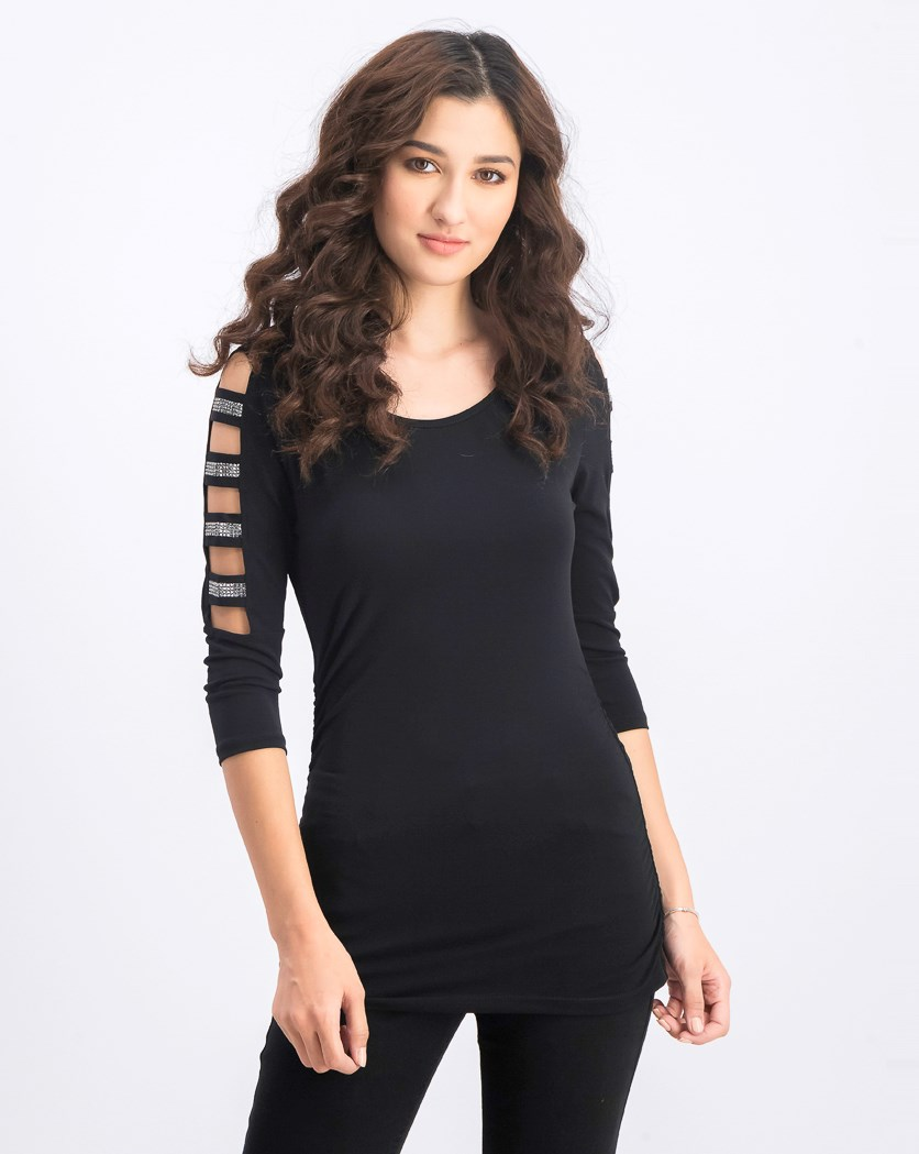 Women's Ladder Sleeve Top, Black