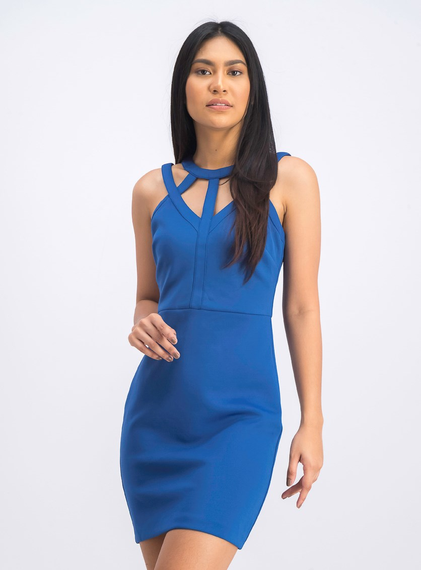 Sleeveless Caged Scuba Bodycon Dress, Blue