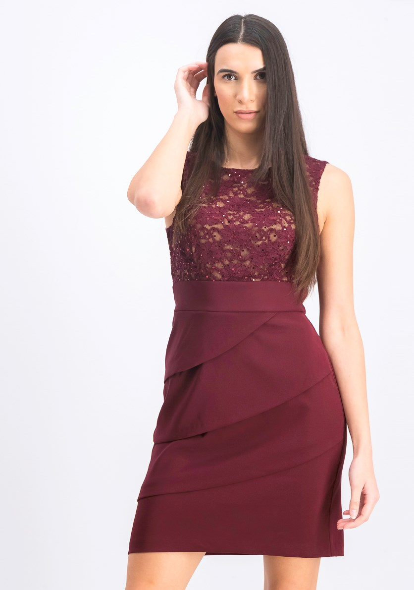 Women's Tiered Lace Sheath Dress, Maroon