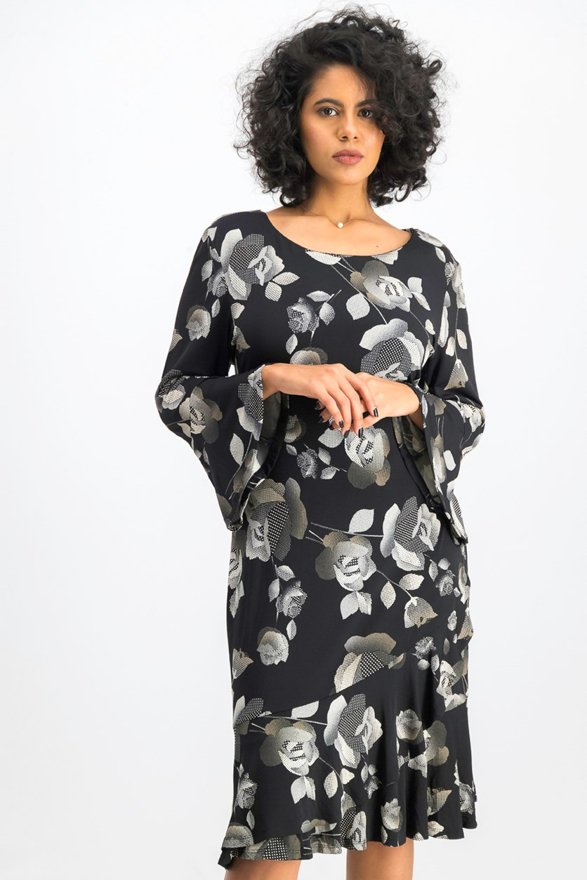 Women's  Embroidered Floral Bell Sleeve Dress, Black