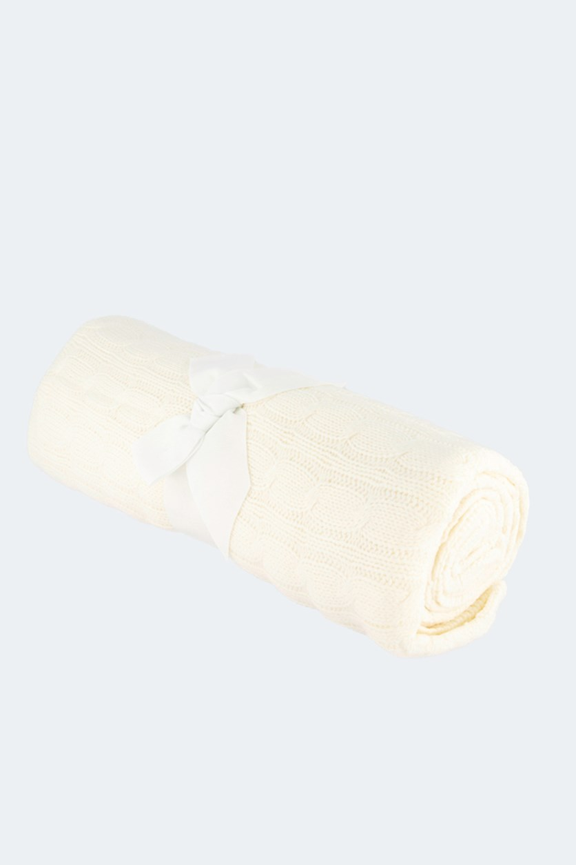 Cable Knit Throw, White