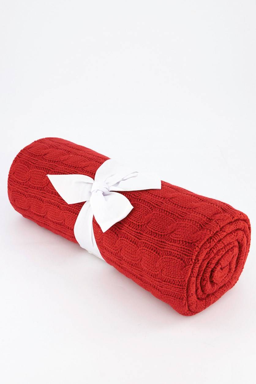 Cable Knit Throw, Red