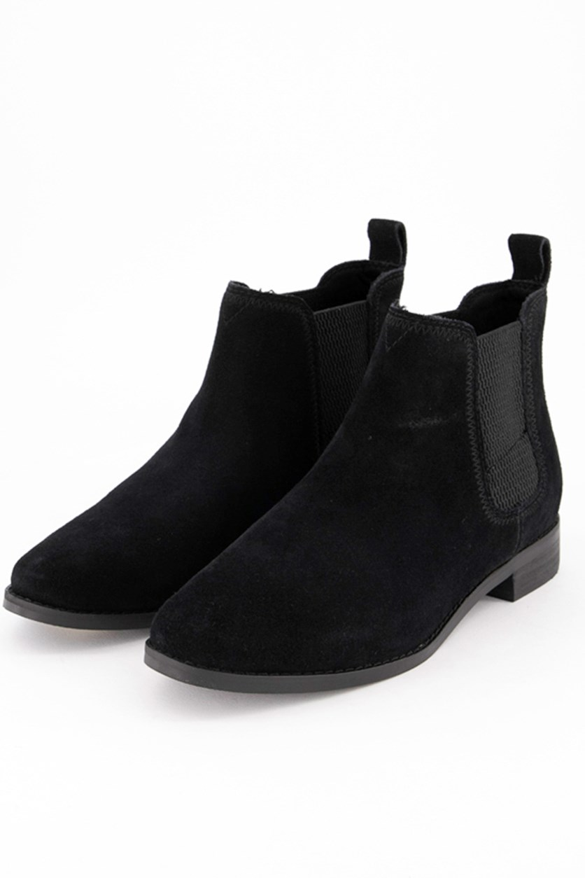 Women's Ella Black Suede Booties, Black