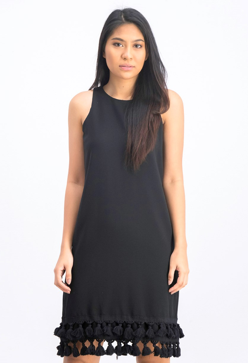 Women's Sleeveless Tassel-Hem Dress, Black