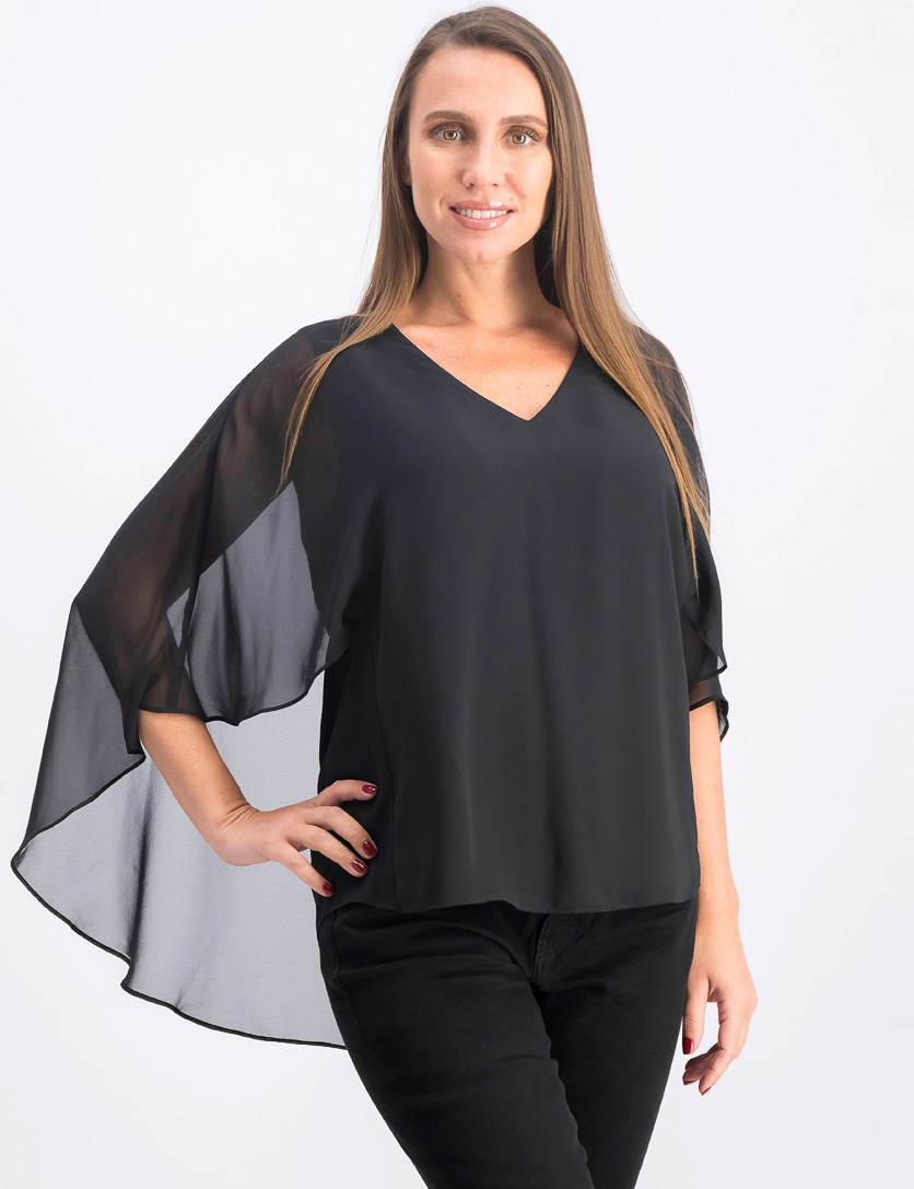 Womens Zadie Chiffon Cape Blouse, Black