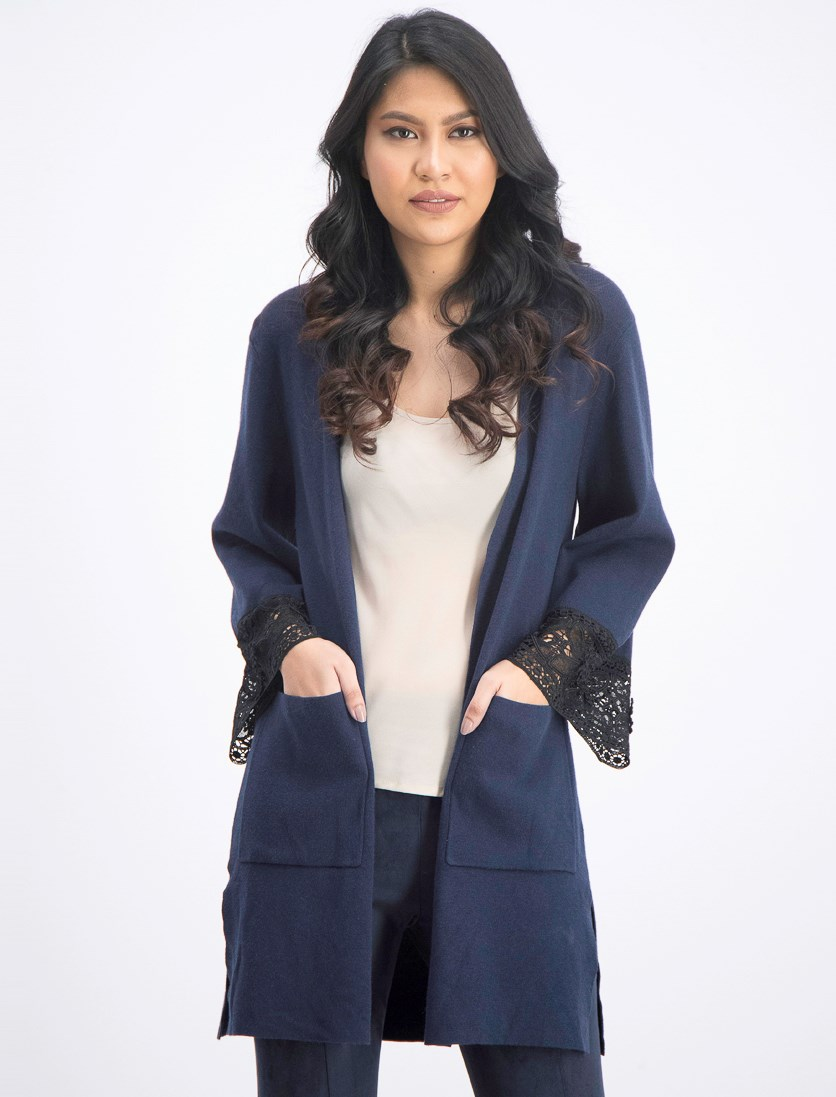 Women's Cardigan Sweater, Blue/Black