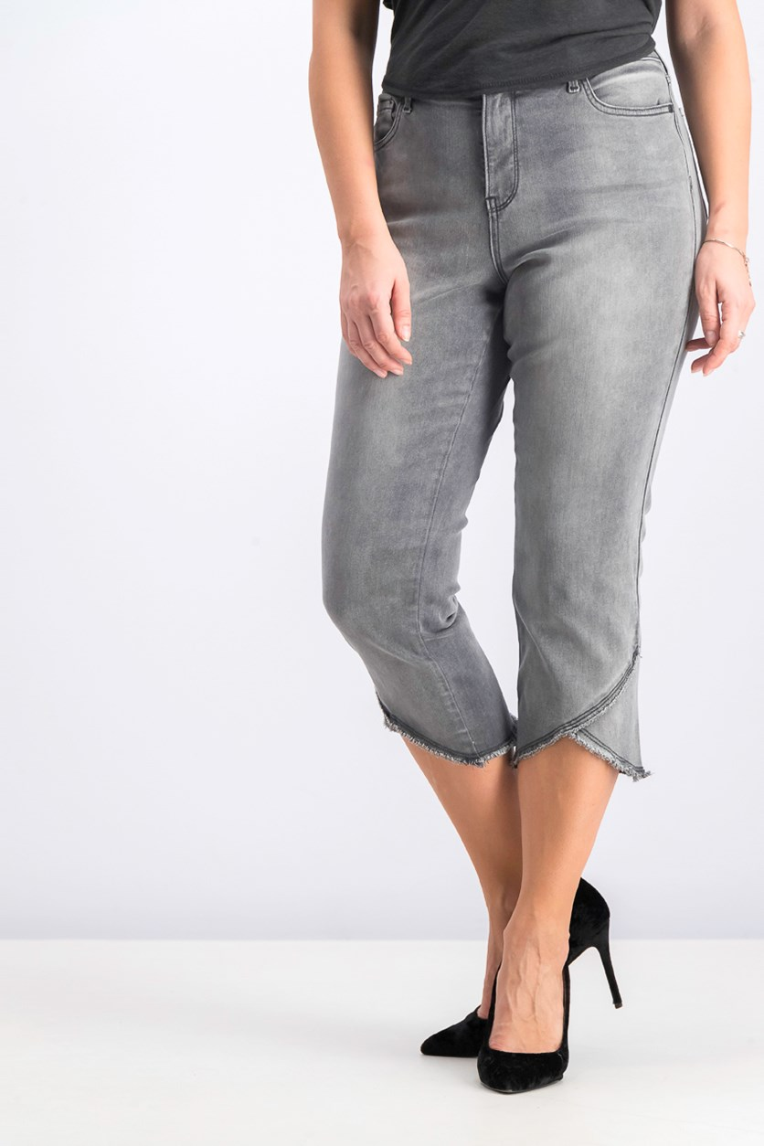 Women's Skinny Capri Jeans, Wash Gray