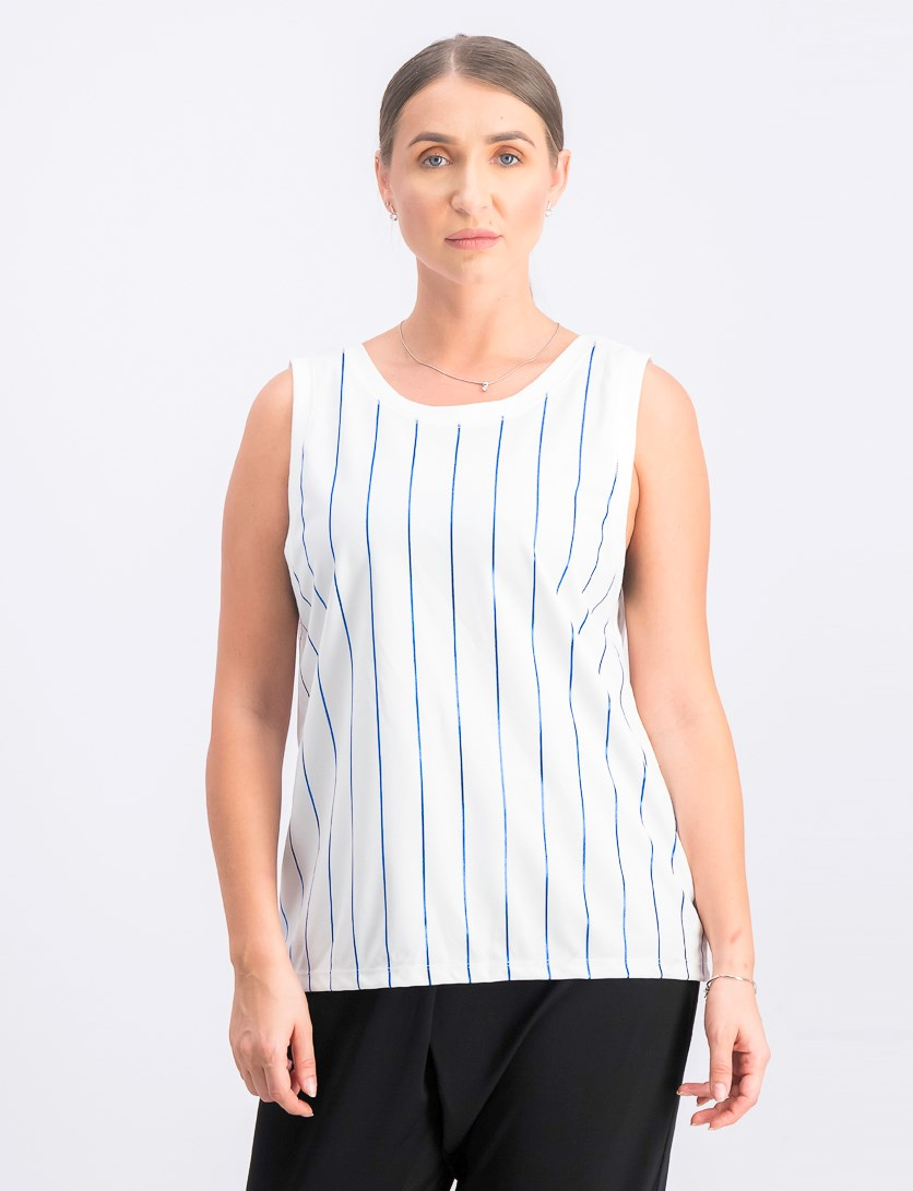 Women's Striped Sleeveless Top, White