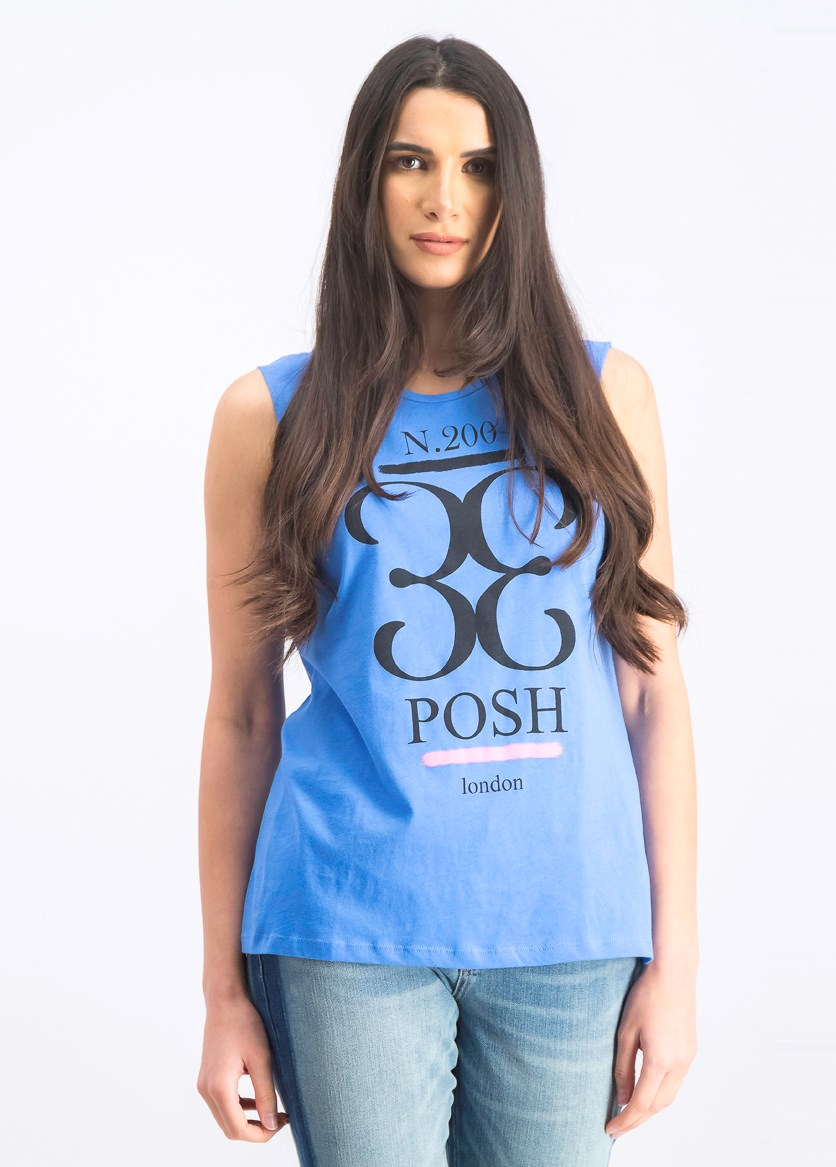 Women's Printed Sleeveless Top, Blue