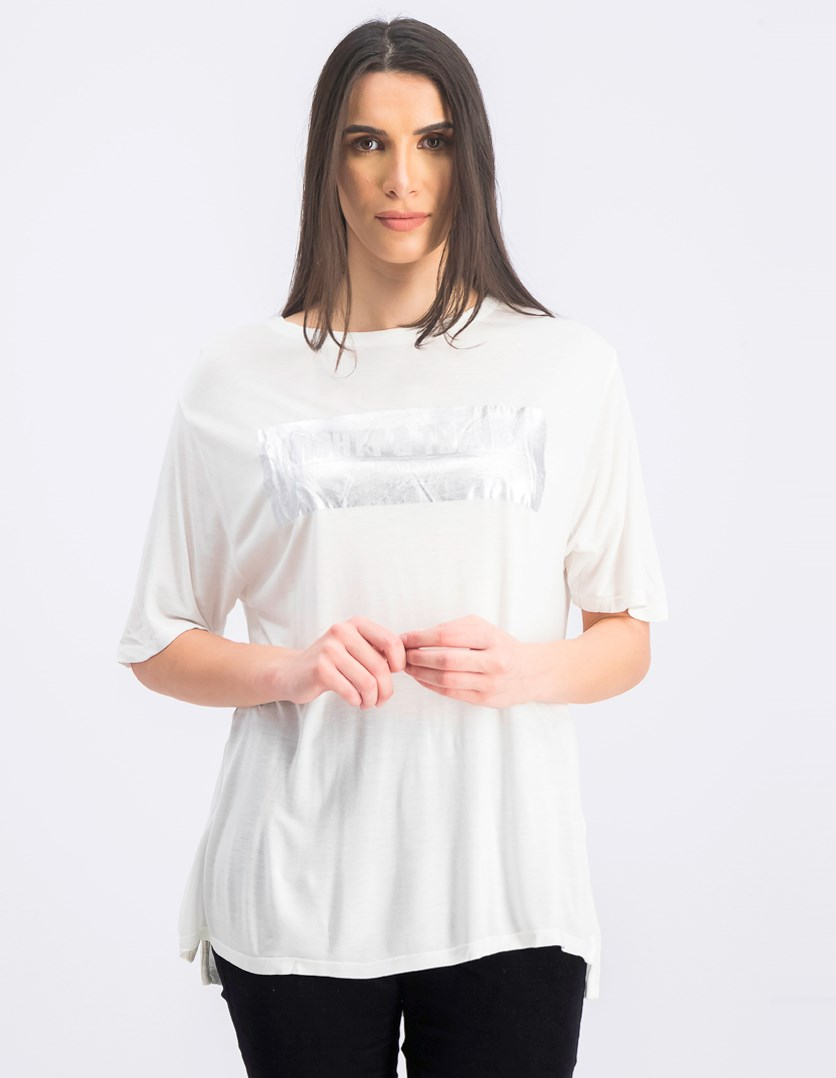 Women's Metallic Print Shirt, White