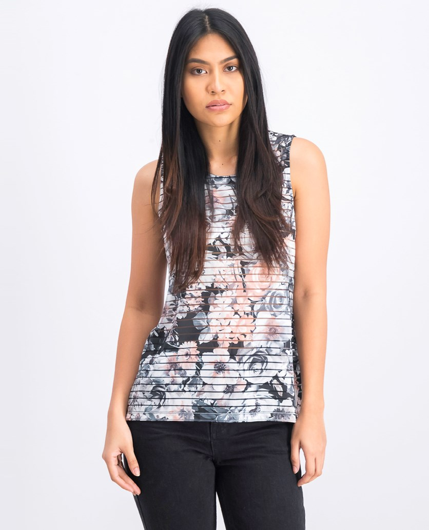 Women's Floral Print Tank Top, Black/White Combo