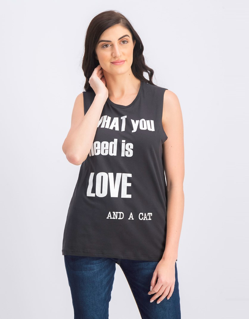Women's Graphic Tank Top, Charcoal