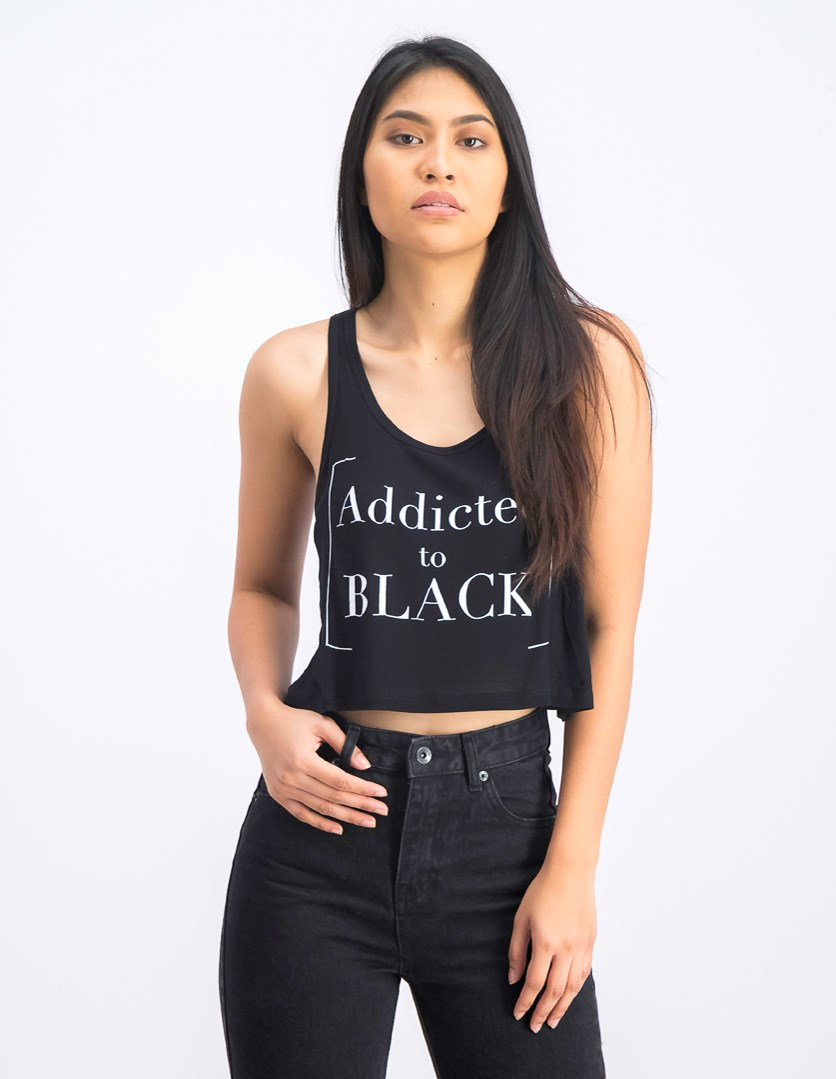 Women's Graphic Cropped Top, Black