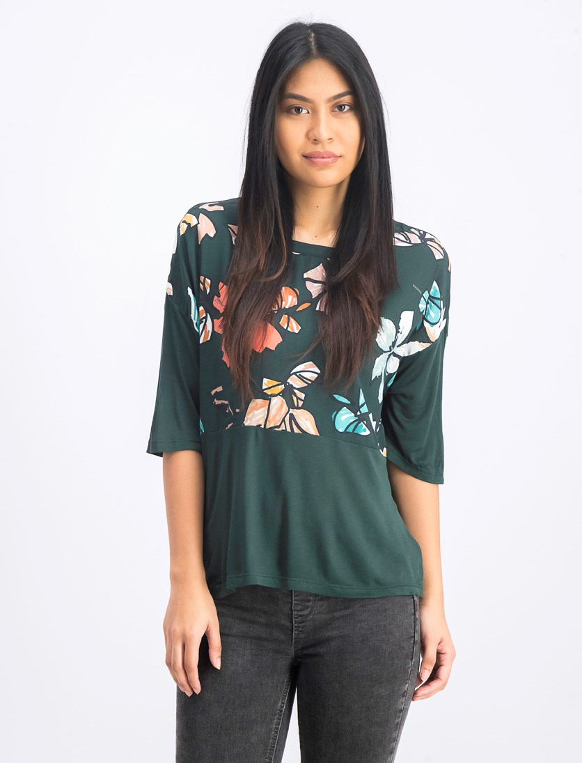 Women's Floral Print Blouse, Dark Green