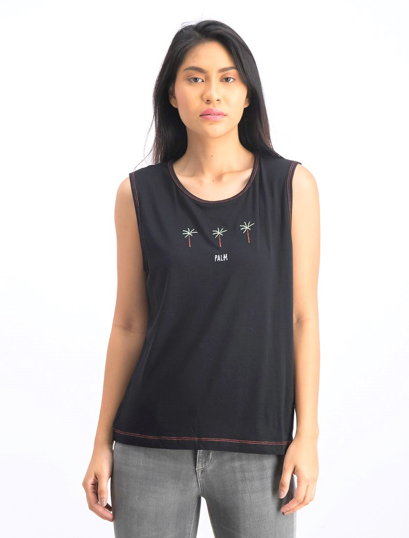 Women's Palm Embroidered Tank Top, Black