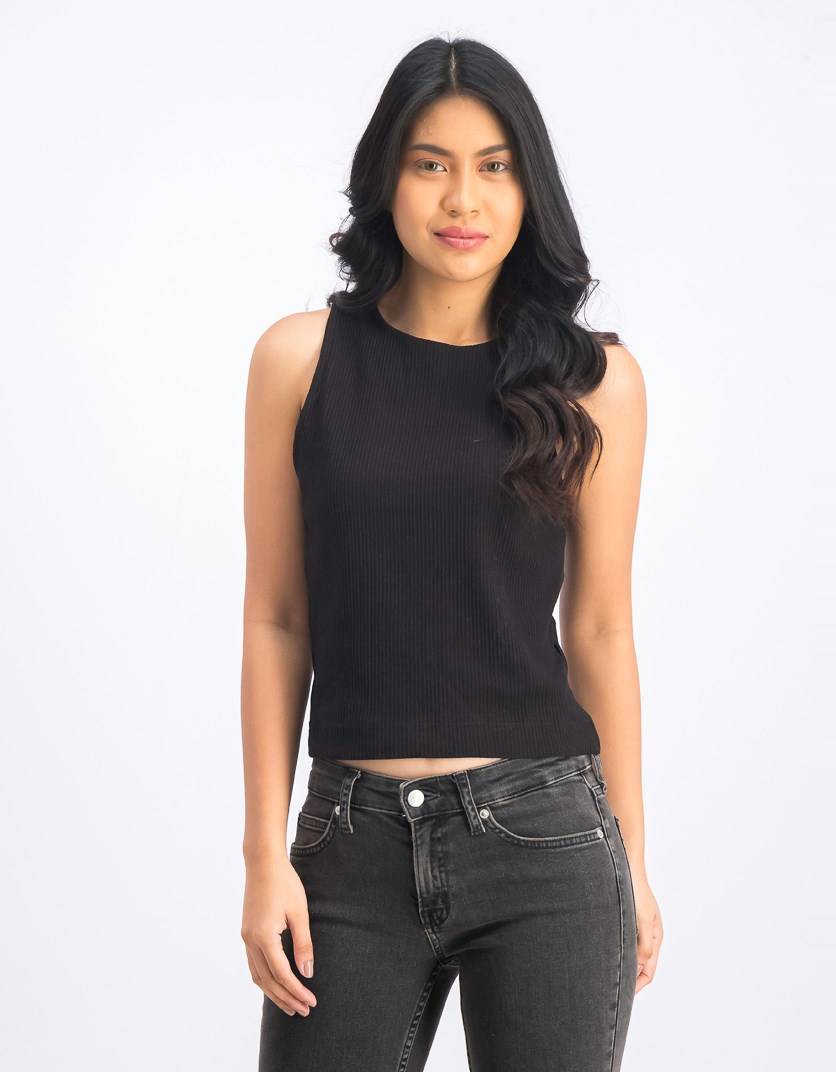 Women's Sleeveless Cropped Tops, Black