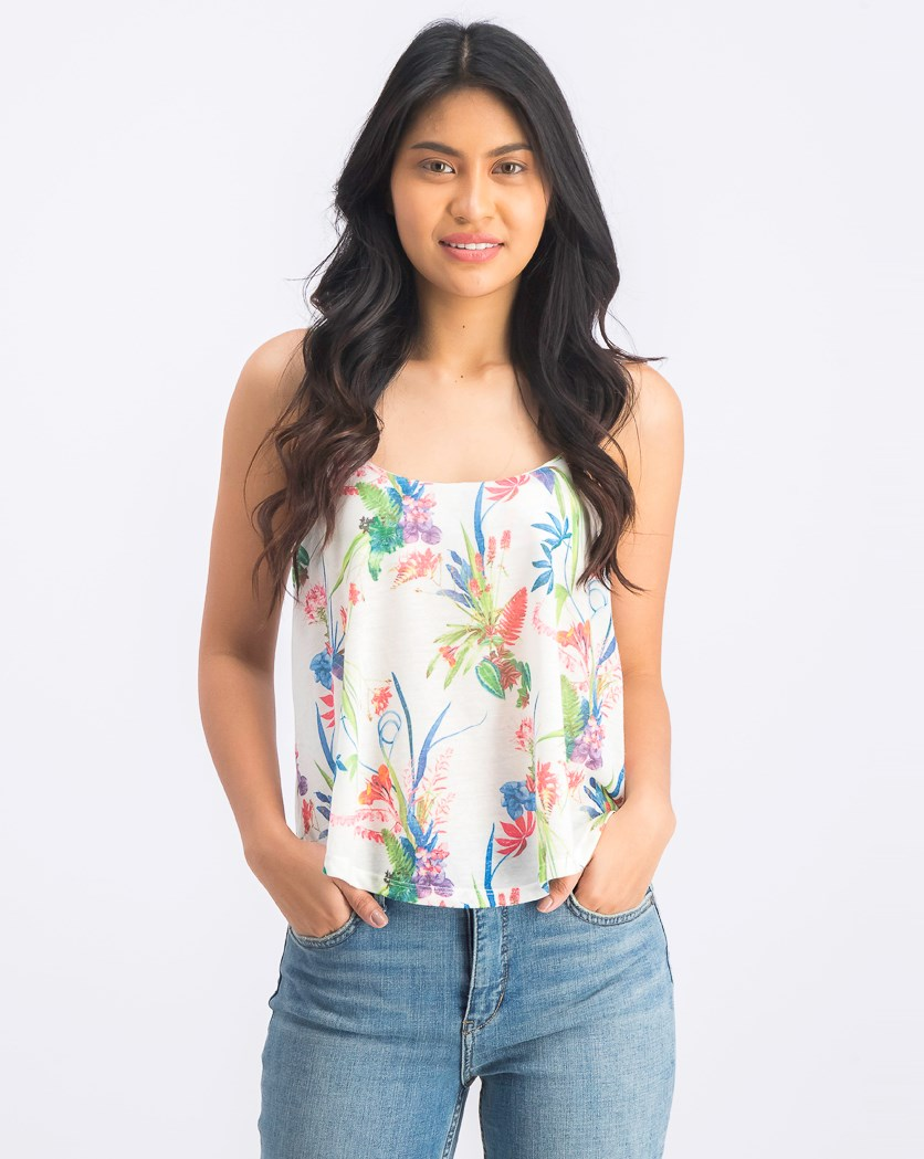 Women's Ruffle Front Floral Print Top, White Combo