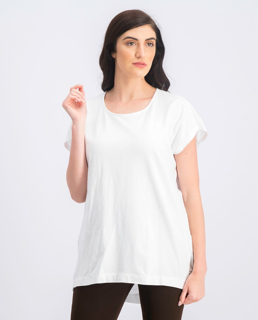 Women's Short Sleeve Plain Top, White