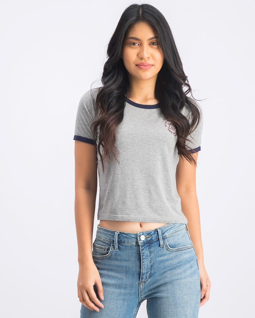 Women's Embroidered Logo T-Shirt, Grey/Navy