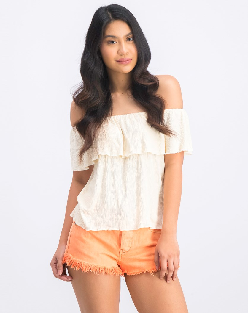 Women's Off-Shoulder Blouse, Cream