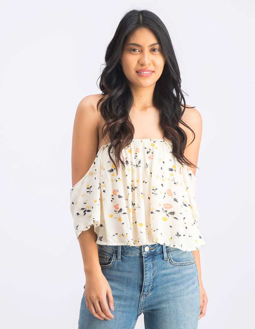 Women's Off Shoulder Floral Print Crooped Top, Ivory