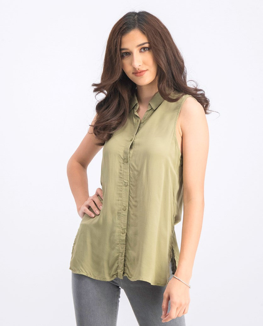 Women's Sleeveless Button Tops, Olive