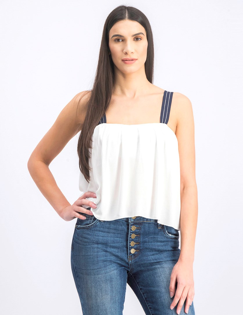 Women's Sleeveless Cropped Tops, White/Navy