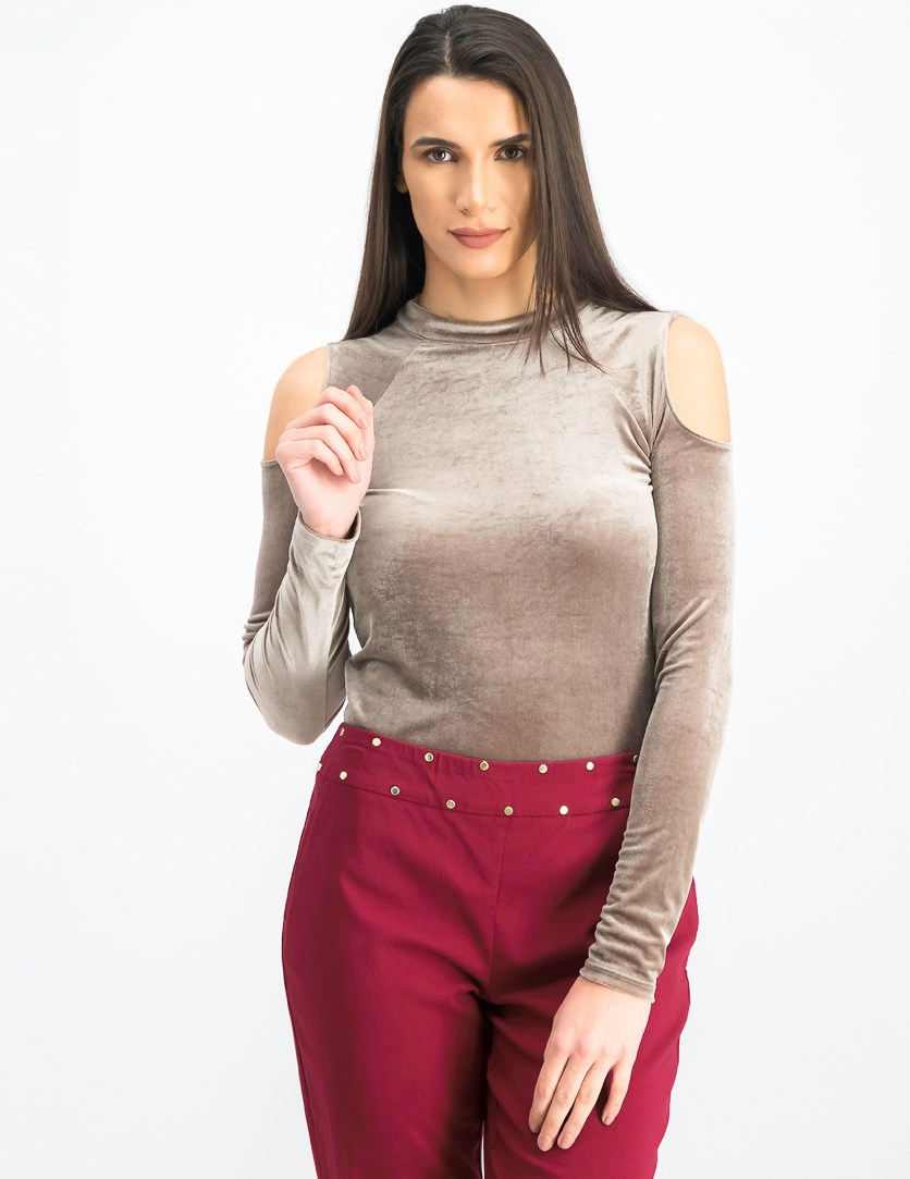 Women's Cold Shoulder Bodysuit, Taupe