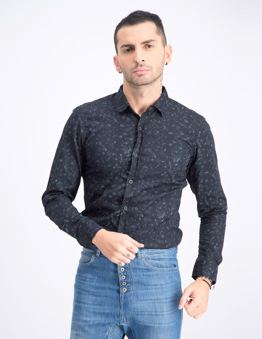 Men's Printed Long Sleeve Shirt, Black