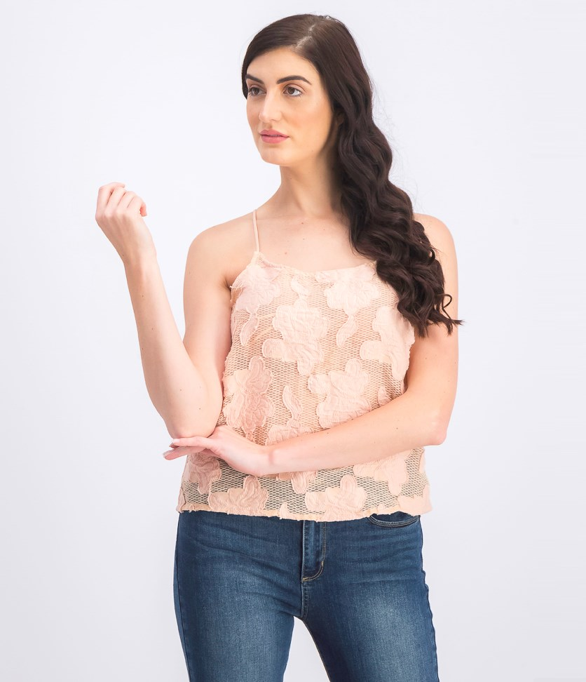 Women's Embroidered Lace Top, Peach