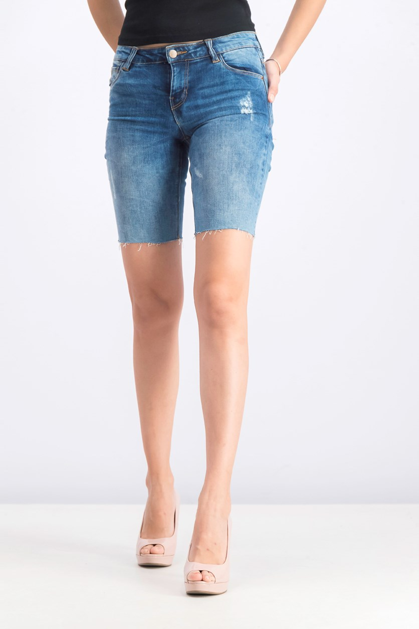 Women's Distressed Hem Denim Short, Blue