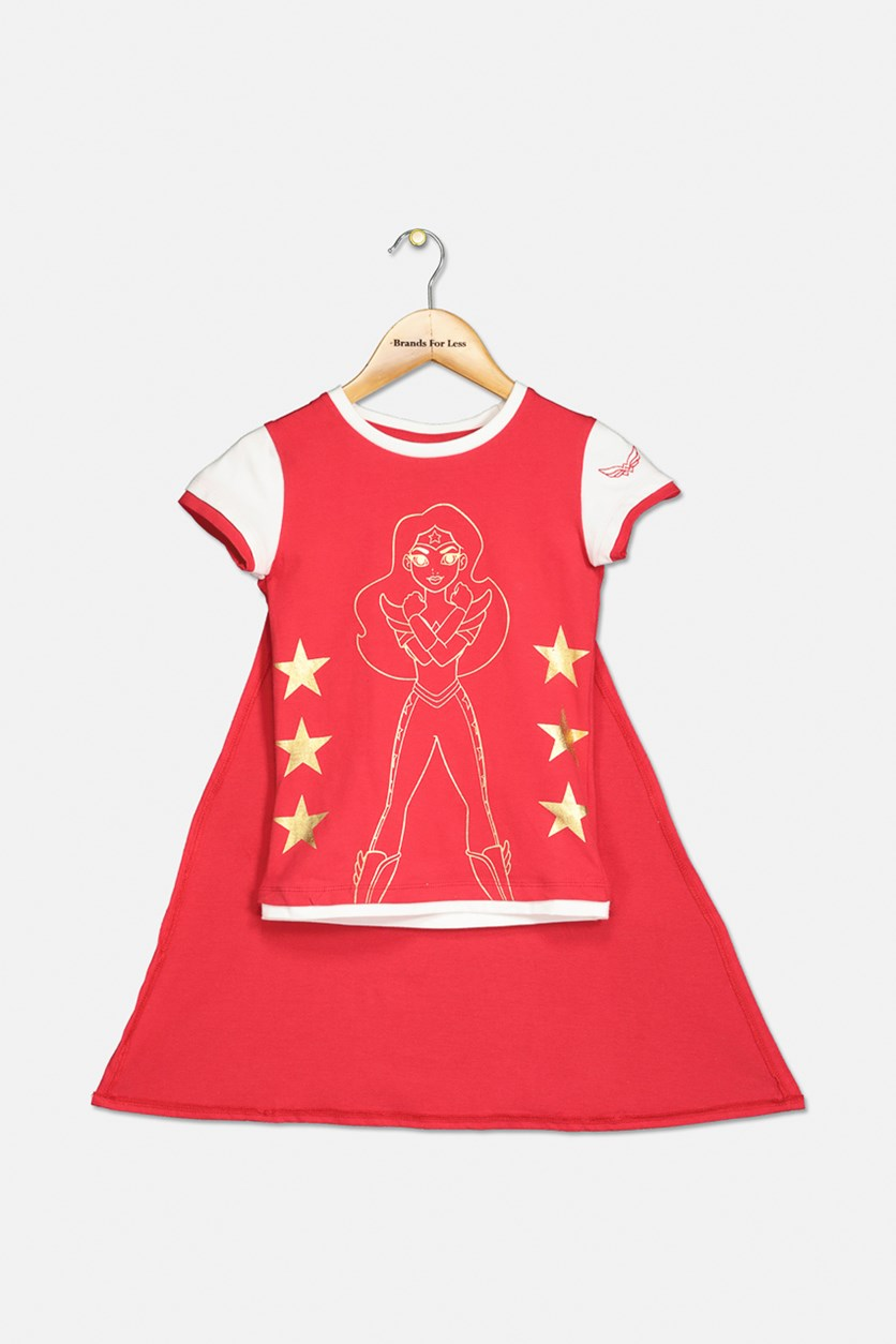 Wonder Woman Print T-shirt With Cape, Red/White