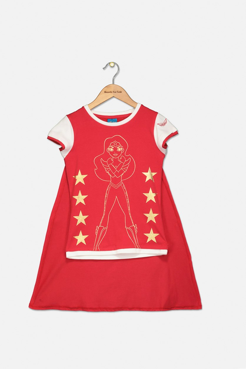 Cape Top with Wonderwoman Print Short Sleeve, Red