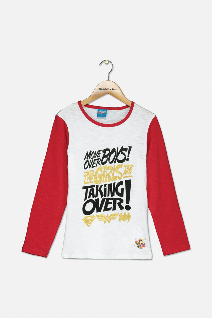 Girl's Graphic Tops, White/Red