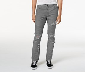 American Rag Cie Men's Ripped Moto Jeans, Gray
