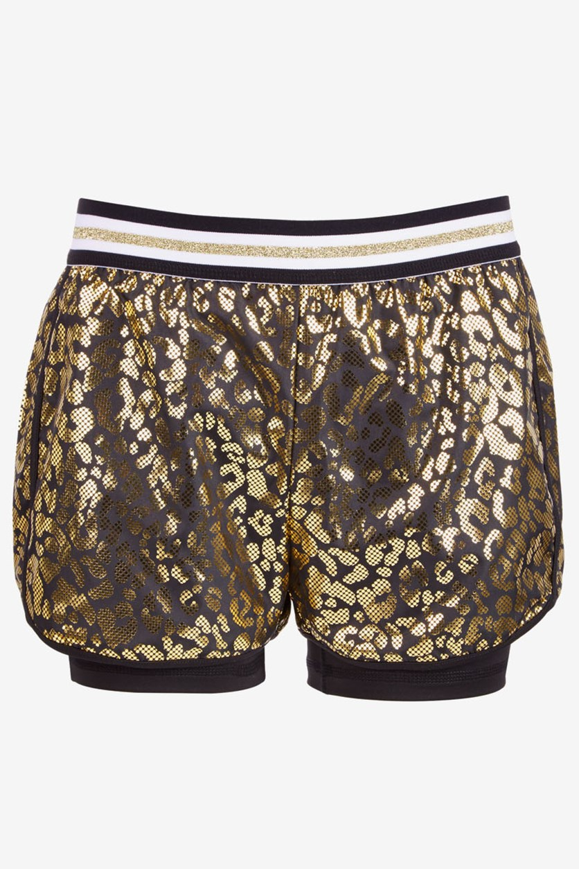 Big Girls Plus Metallic Leopard Shorts, Noir