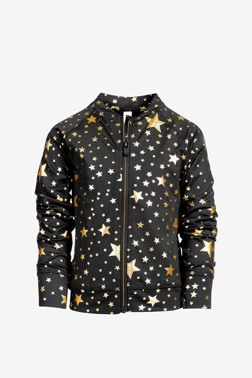 Toddler Girls Star-Print Zip-up Active Jacket, Black/Gold