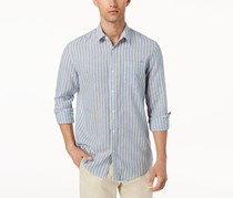American Rag Cie Men's Chevy Linen Striped Shirt, Blue